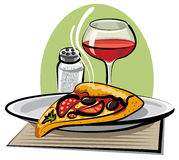 Pizza y vino calientes Imagenes de archivo