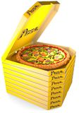 Pizza in the yellow box. Pizza with tomatoes, olives, sausage, and cheese in an open cardboard yellow box is on top of a stack of closed boxes of pizza. 3D Stock Image