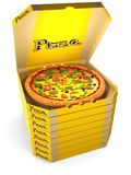 Pizza in the yellow box. Pizza with tomatoes, olives, sausage, and cheese in an open cardboard yellow box is on top of a stack of closed boxes of pizza. 3D Royalty Free Stock Photo