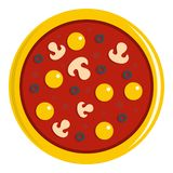 Pizza with yolk, olives, mushrooms, tomato icon. Pizza with egg yolk, olives, mushrooms and tomato sauce icon flat  on white background vector illustration Royalty Free Stock Photography