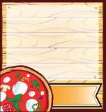 Pizza z drewnianym tłem royalty ilustracja