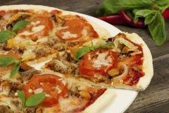 Pizza z serem, pieprzem i mięsem, fotografia royalty free