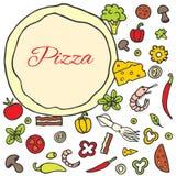 Pizza z setem składniki Obraz Stock