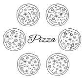 Pizza z setem składniki Obraz Royalty Free