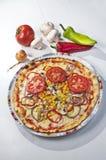 Pizza z warzywami na talerzu Zdjęcia Stock