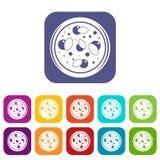 Pizza z zieleni ikona ustawiającym mieszkaniem royalty ilustracja