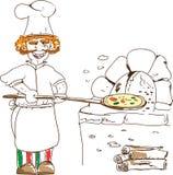 Pizza-zeit- Illustration Lizenzfreie Stockfotografie