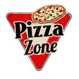 Pizza zone vintage rusty metal sign Royalty Free Stock Photo