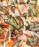 Pizza with zucchini eggplant and peppers and many mozzarella che Royalty Free Stock Photography