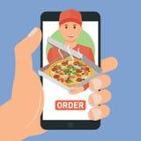 Pizza-Zustelldienst Getrennt auf weißem Hintergrund lizenzfreie abbildung