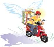 Pizzaanlieferung heiß und in der Zeit - freundliche Karikatur Lizenzfreies Stockfoto