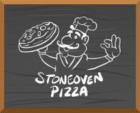Pizzaanzeigenvektor mit Charakter Stockfoto