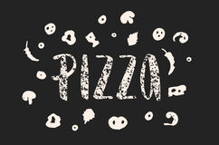 Pizzabeschriftung mit Hand gezeichneten Elementen der Pizza gemasert Stockfotos