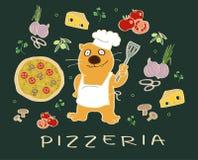 Pizzabestandteile mit einem Kochkatzencharakter Stockfotos