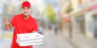 Pizzabotejungenauftrag, der Job liefert, Kopienraum copyspace Fahne des Erfolgs zu liefern erfolgreichen lächelnden Stadt stockfotografie