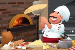 Pizzachef-kok Makes Pizza Dough Royalty-vrije Stock Foto