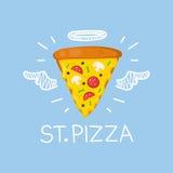Pizzaconcept & x22; St Pizza& x22; met engelenhalo en vleugels Vlakke en krabbel vectorillustratie Stock Foto's