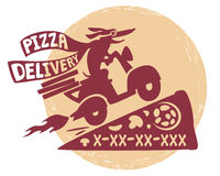 Pizzadelivery. Funny dog on a motor scooter .Emblema quick delivery pizza Stock Photography