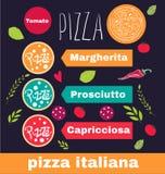 Pizzadesign-Menüschablone Stockfotos