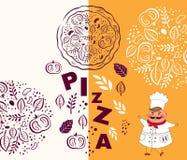 Pizzadesignmenü Stockbild