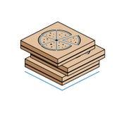 Pizzadozen op witte achtergrond worden geïsoleerd die Stock Foto