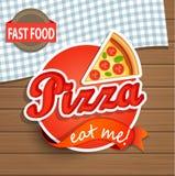 Pizzaetiket en Teken Royalty-vrije Stock Afbeeldingen