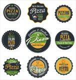 Pizzaetiketter Royaltyfria Bilder