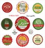 Pizzaetiketter Arkivbild