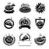 Pizzaetiketter och beståndsdeluppsättning vektor stock illustrationer