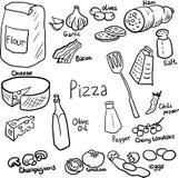 Pizzagekritzelsatz Stockfoto