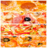 Pizzagrenzen eingestellt Stockbilder