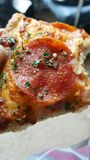PizzaHut Last slice!. Yummy! Love the crust Stock Photo