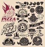 Pizzaikonen und -kennsätze Stockbilder