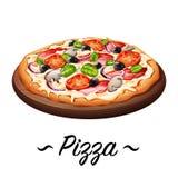 Pizzaikonenillustration Lizenzfreies Stockfoto