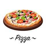 Pizzaikonenillustration Stockfoto