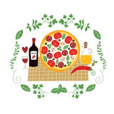 Pizzaillustration Stockfotografie