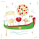 Pizzaillustration Royaltyfria Bilder