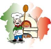 pizzaiolo italiano perto do forno Ilustração do Vetor