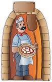 pizzaiolo med pizza och träskyffeln Royaltyfri Foto