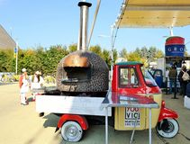 A pizzaiolo mobile oven from Naples at the EXPO Milano 2015. Royalty Free Stock Image