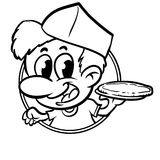Pizzaiolo serving a pizza logo cartoon black and white Royalty Free Stock Photo