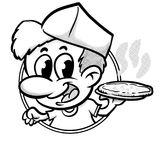 Pizzaiolo serving a pizza logo cartoon halftones Royalty Free Stock Photo