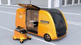 Pizzakastenübertragung von selbst-treibendem Lieferwagen auf bewegliches Lieferungsbrummen stock abbildung