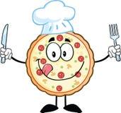Pizzakock Cartoon Mascot Character med kniven och gaffeln Arkivbilder