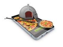 Pizzaleverans, appell eller beställning direktanslutet på mobilen, cell- smart telefon illustration 3d Royaltyfri Fotografi