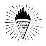 Pizzaleveransetikett Vektor för kokkonst för pizzaskivabrand italiensk vektor illustrationer