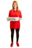 Pizzaleveransflicka med två pizza Arkivbild