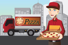 Pizzaleveransman Fotografering för Bildbyråer