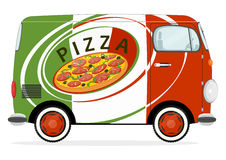 Pizzalieferungsauto Stockfotografie