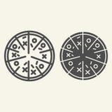 Pizzalijn en glyph pictogram Italiaanse voedsel vectordieillustratie op wit wordt geïsoleerd Het de stijlontwerp van het snel voe royalty-vrije illustratie